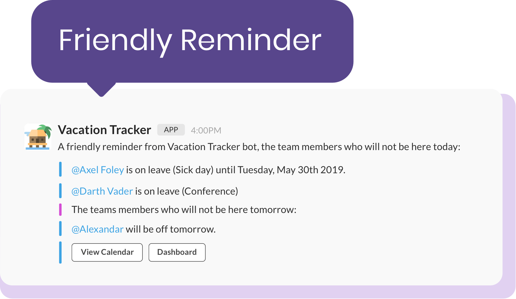 vacation tracker notifications